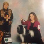 Black and White Tibetan Terrier receives a ribbon